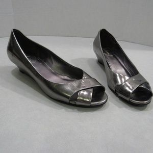 Cole Haan Metallic Silver Nike Air Peep Toe Wedge